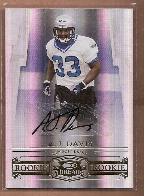 2007 Donruss Threads Rookie Autographs #181 A.J. Davis/250
