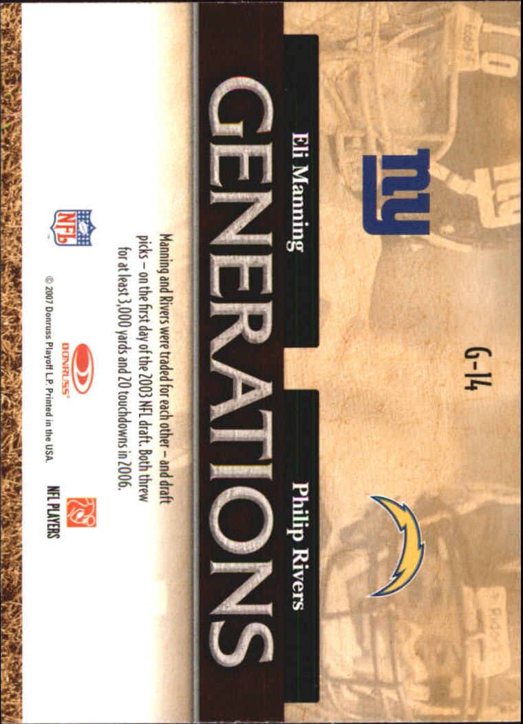 2007 Donruss Threads Generations Gold #14 Eli Manning/Philip Rivers back image