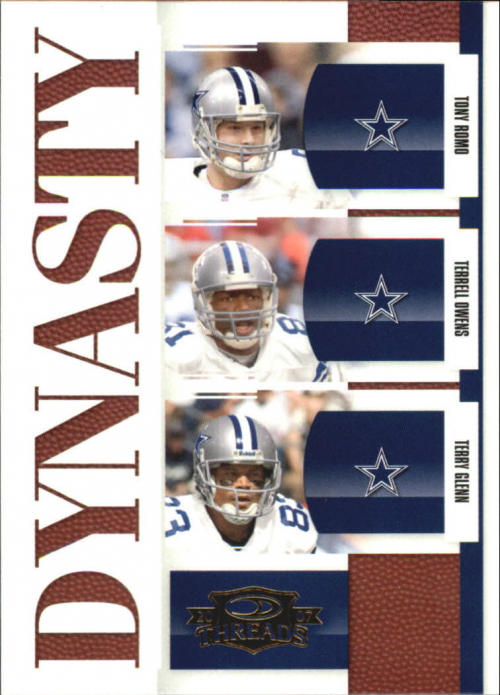 2007 Donruss Threads Dynasty Gold #2 Tony Romo/Terrell Owens/Terry Glenn