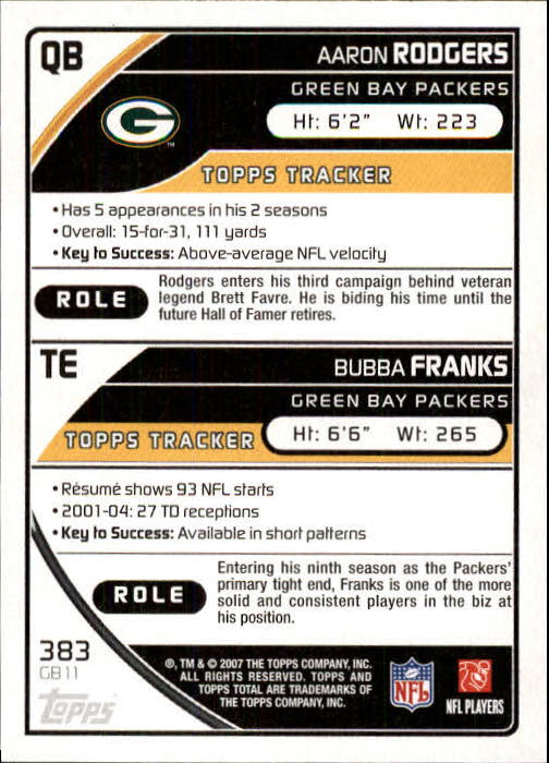 2007 Topps Total #383 Bubba Franks/Aaron Rodgers back image