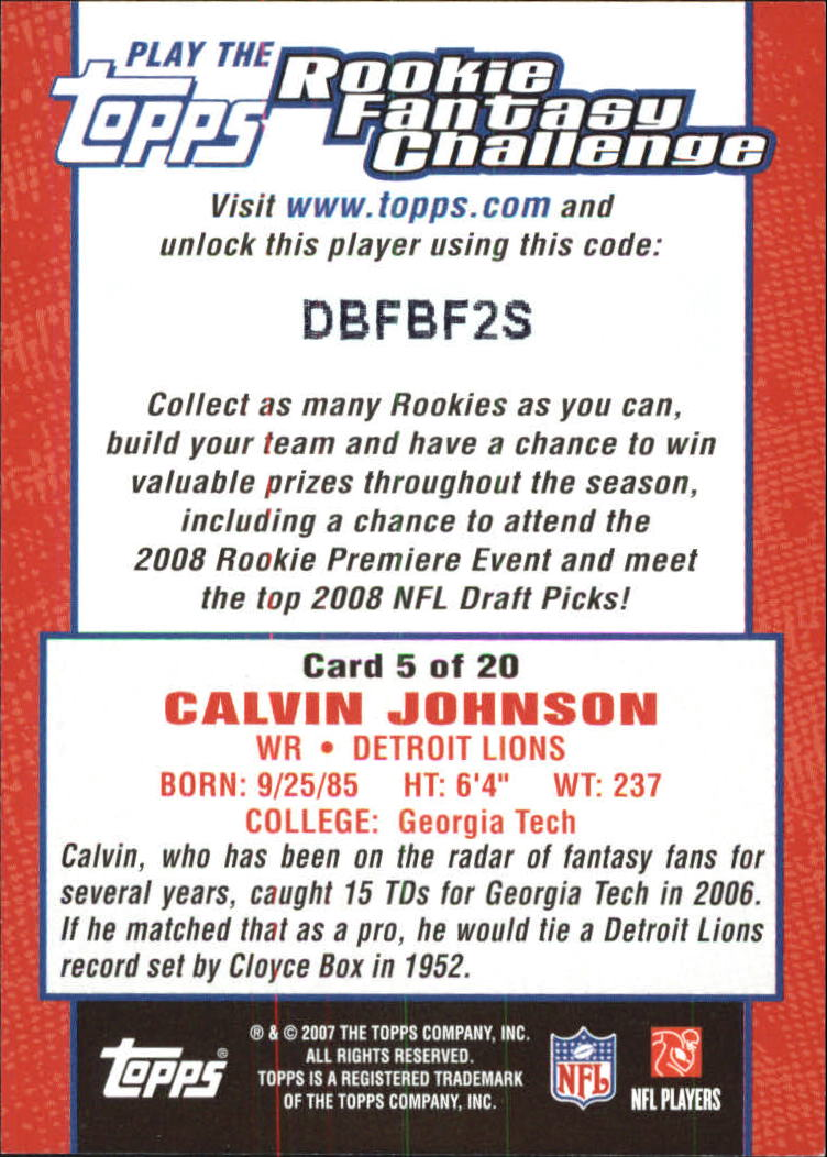 2007 Topps Rookie Fantasy Challenge #5 Calvin Johnson back image