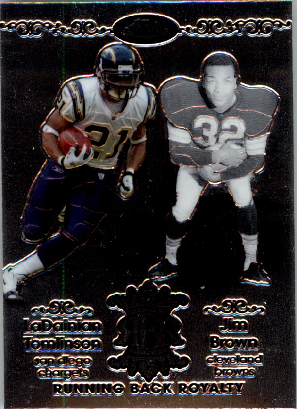 2007 Topps Chrome Running Back Royalty #TB LaDainian Tomlinson/Jim Brown front image