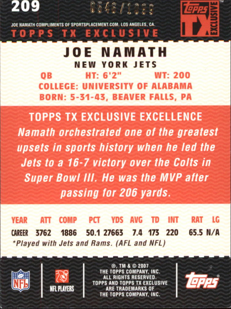 2007 Topps TX Exclusive #209 Joe Namath