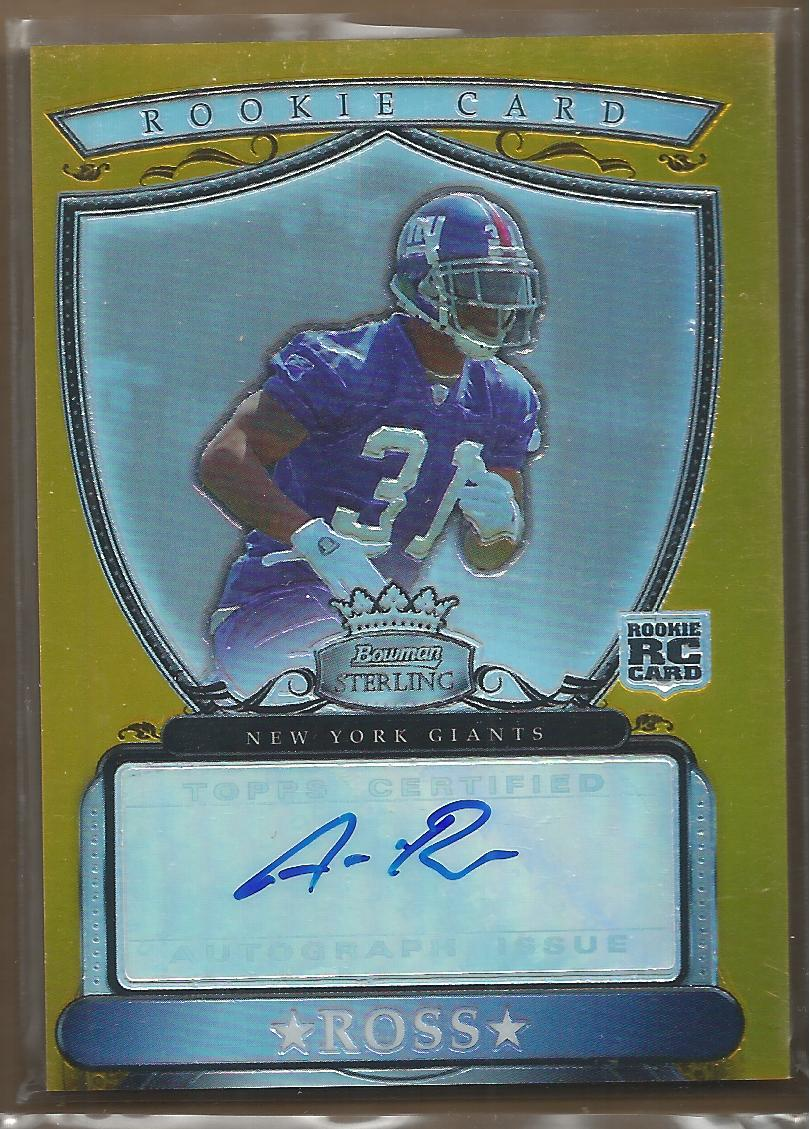 2007 Bowman Sterling Gold Rookie Autographs #AR Aaron Ross/1800