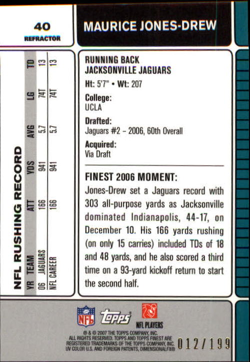 2007 Finest Green Refractors #40 Maurice Jones-Drew back image