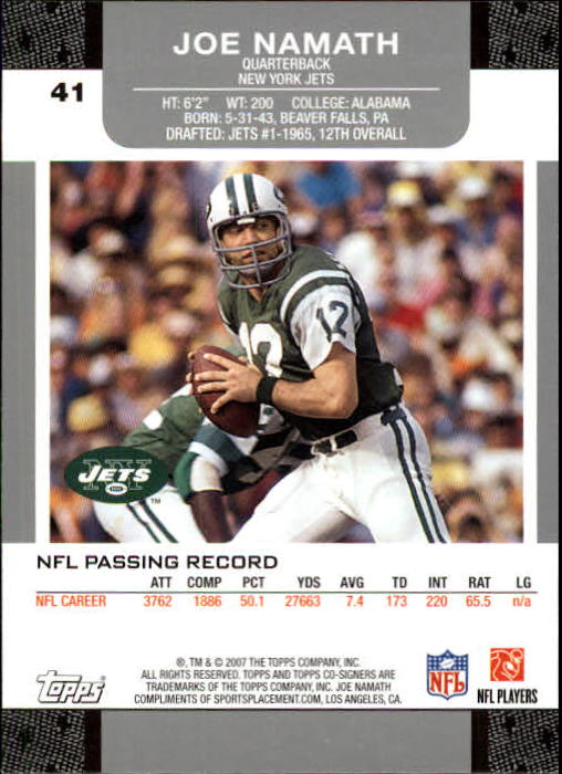 2007 Topps Co-Signers #41 Joe Namath