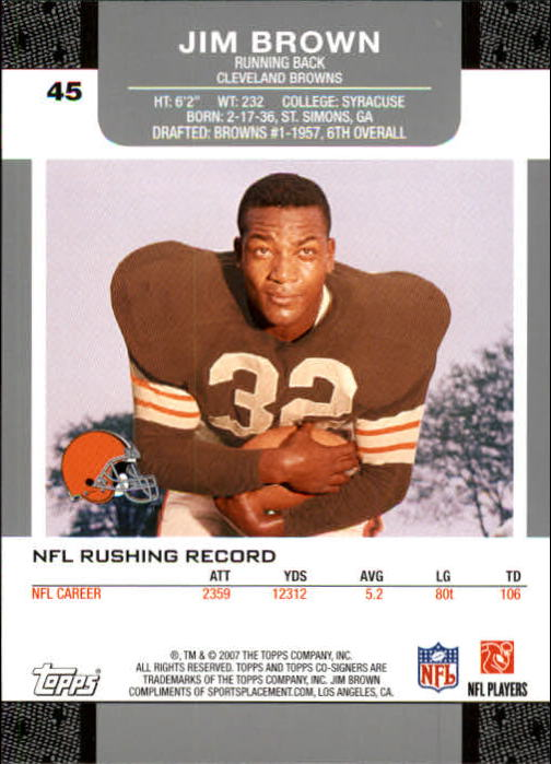 2007 Topps Co-Signers #45 Jim Brown back image