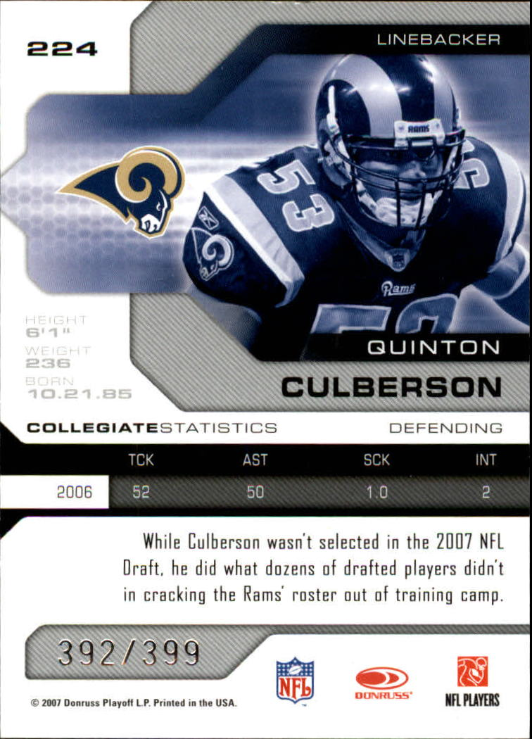 2007 Leaf Limited #224 Quinton Culberson RC