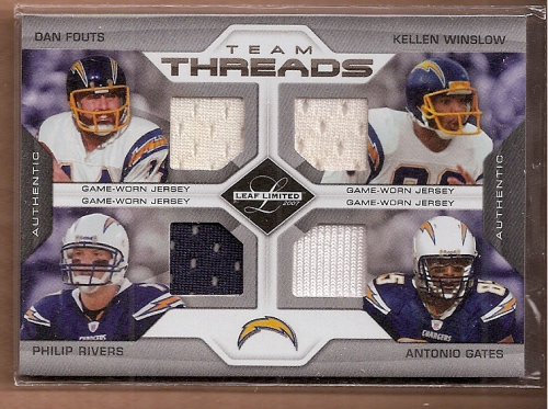 2007 Leaf Limited Team Threads Quads #4 Dan Fouts/Kellen Winslow Sr./Philip Rivers/Antonio Gates