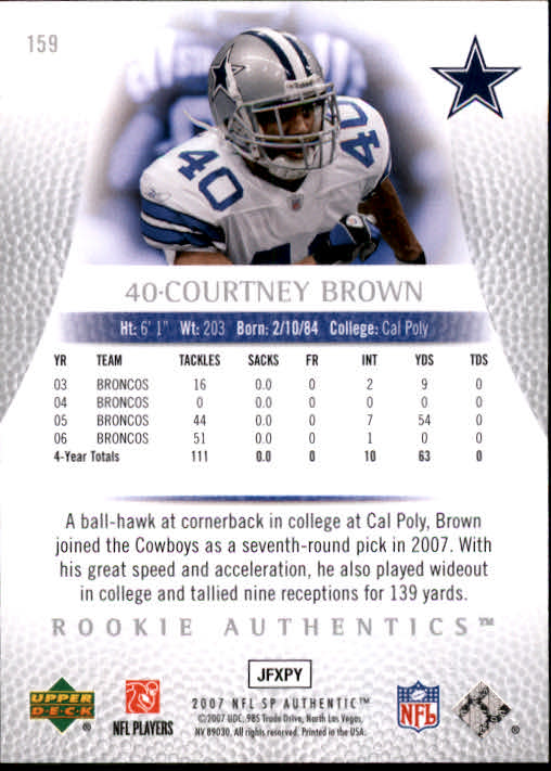 2007 SP Authentic #159 Courtney Brown RC back image