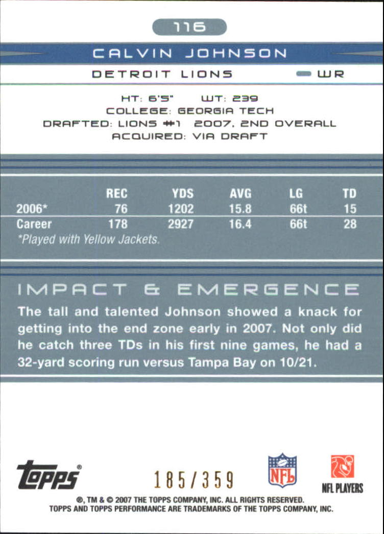2007 Topps Performance #116 Calvin Johnson RC back image