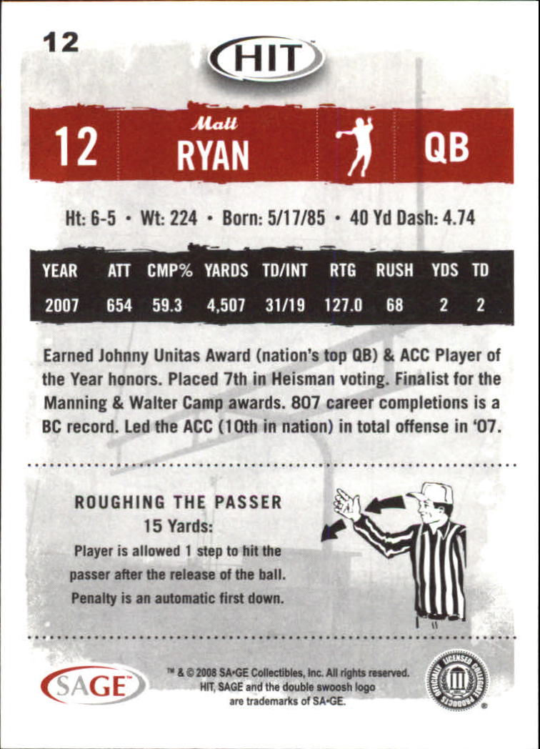 2008 SAGE HIT #12 Matt Ryan back image