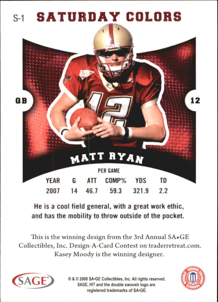 2008 SAGE HIT Saturday Colors #S1 Matt Ryan back image