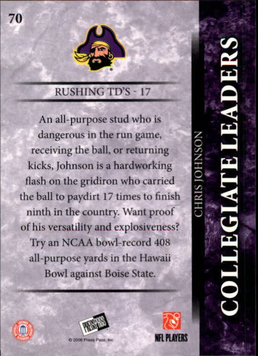2008 Press Pass #70 Chris Johnson COL back image