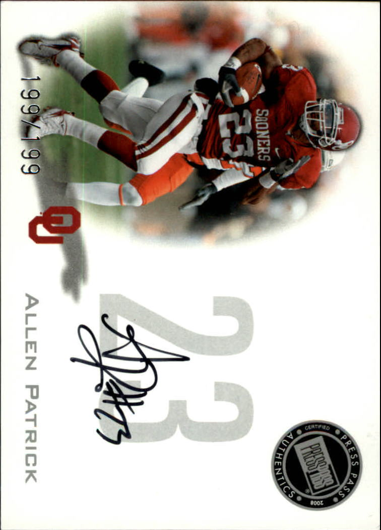 2008 Press Pass Autographs Silver #PPSAP Allen Patrick