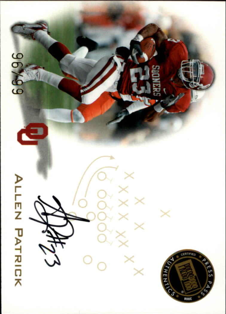 2008 Press Pass Autographs Gold #PPSAP Allen Patrick