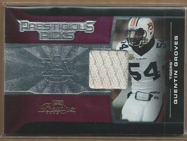 2008 Playoff Prestige Prestigious Picks Materials Purple #9 Quentin Groves