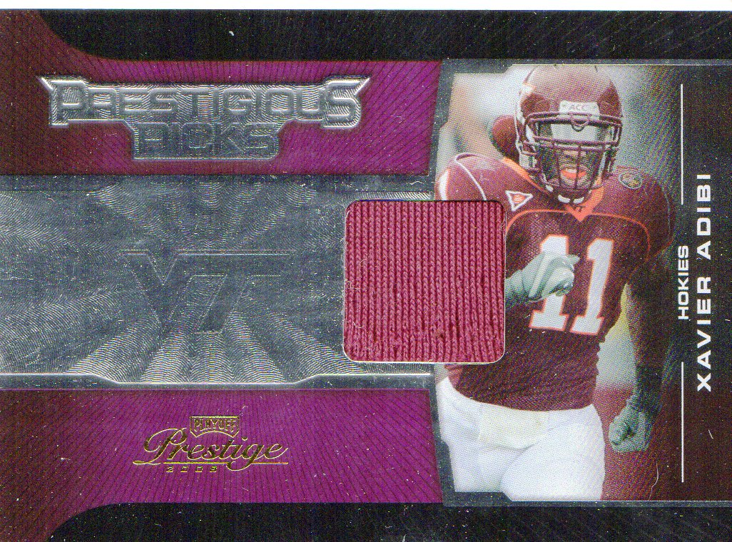2008 Playoff Prestige Prestigious Picks Materials Purple #47 Xavier Adibi