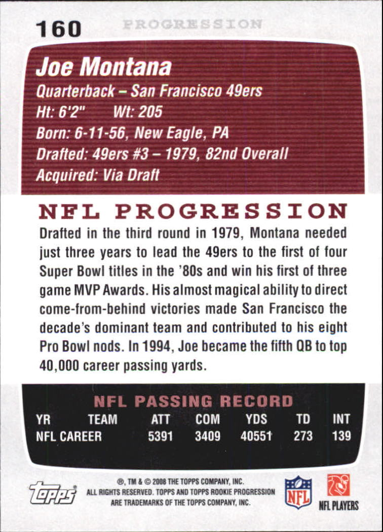 2008 Topps Rookie Progression #160 Joe Montana back image