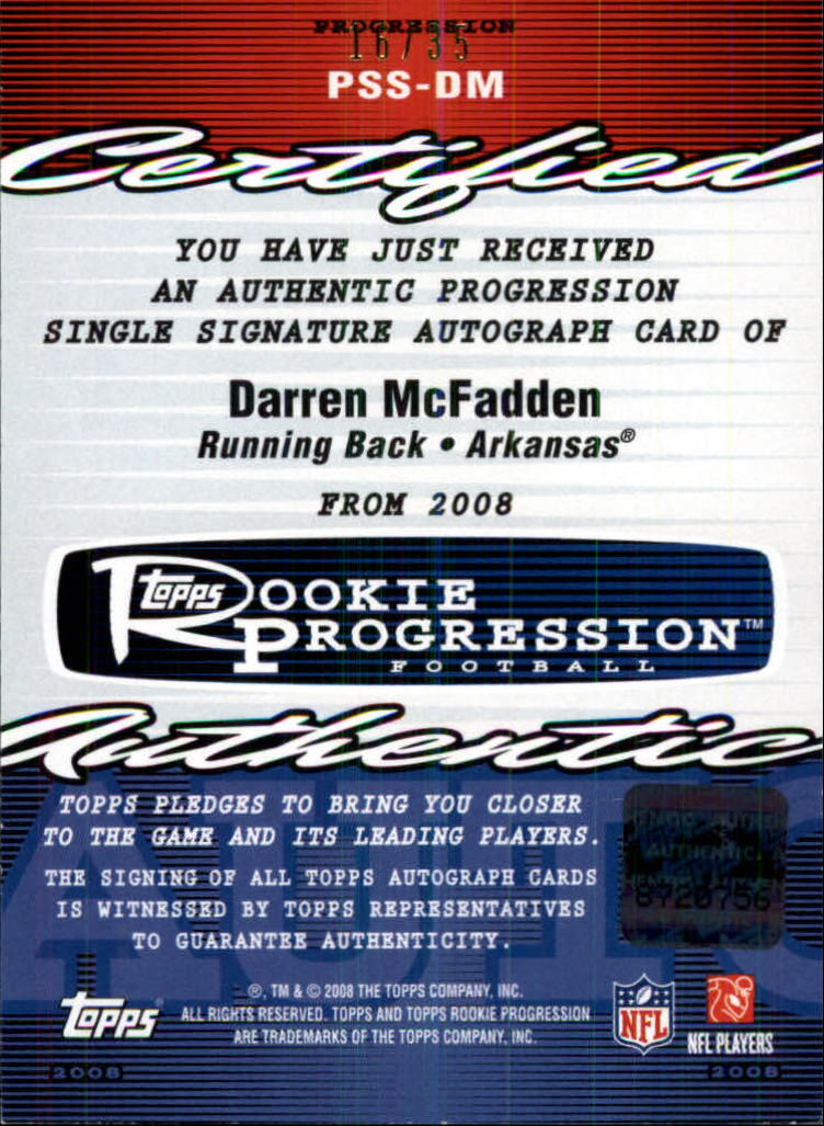 2008 Topps Rookie Progression Signatures Bronze DM Darren McFadden ...