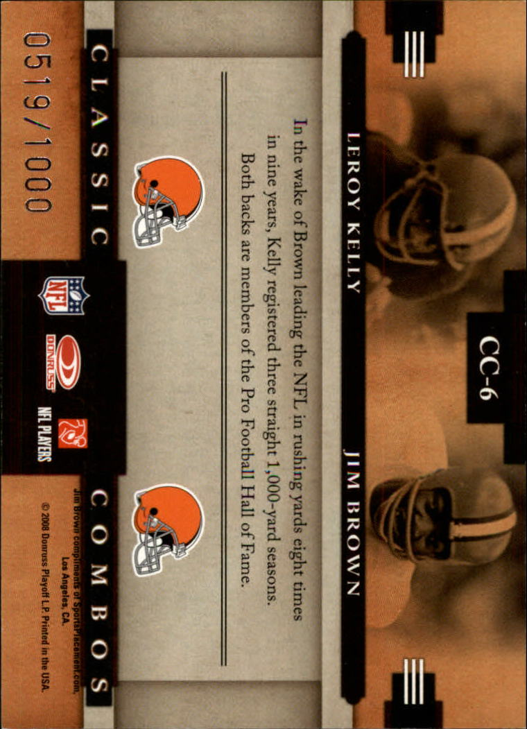 2008 Donruss Classics Classic Combos #6 Leroy Kelly/Jim Brown back image