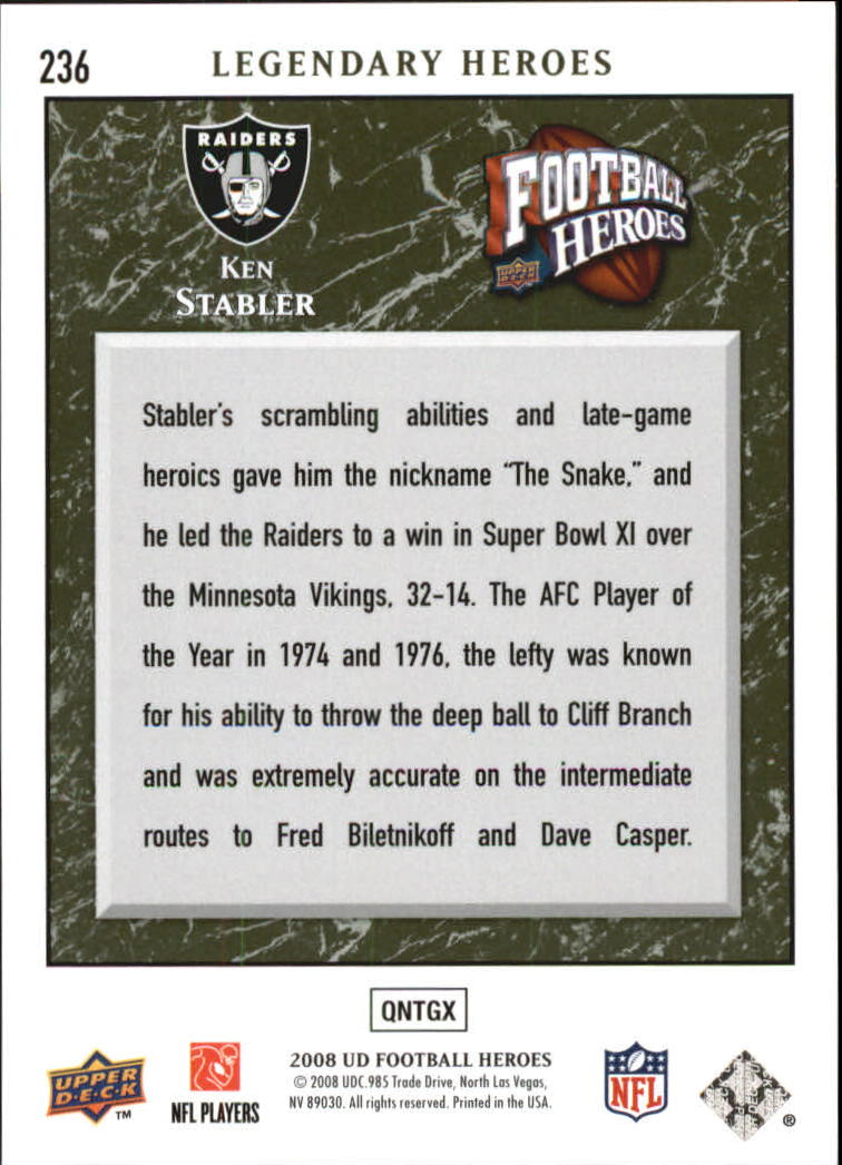 2008 Upper Deck Heroes Green #236 Ken Stabler back image
