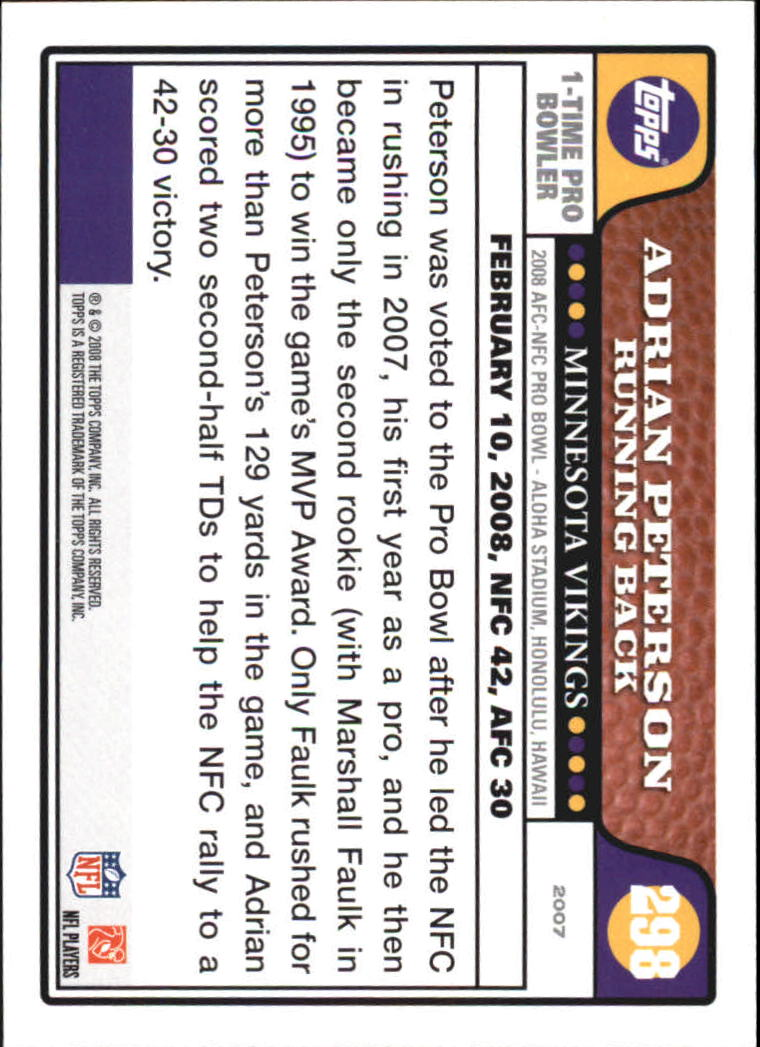 2008 Topps #298 Adrian Peterson PB back image