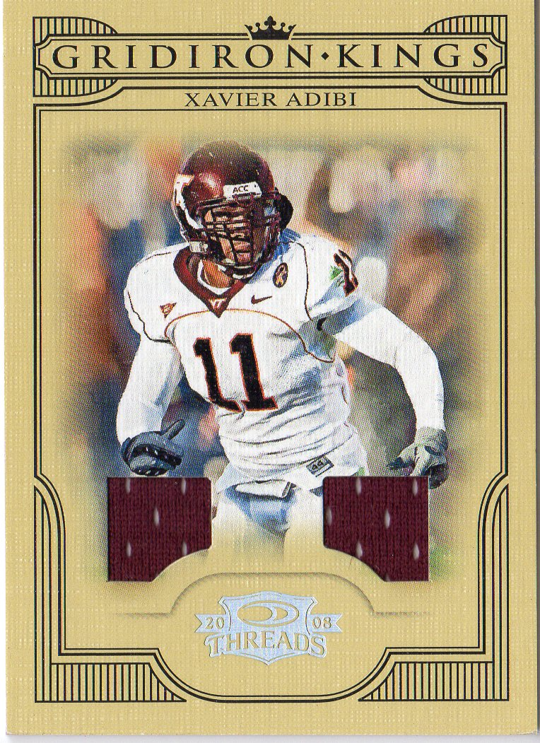 2008 Donruss Threads College Gridiron Kings Materials #35 Xavier Adibi