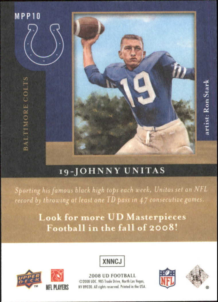 2008 Upper Deck Masterpieces Preview #MPP10 Johnny Unitas back image
