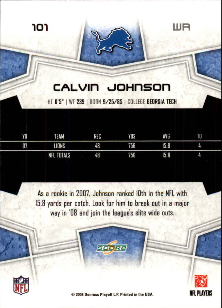 2008 Score #101 Calvin Johnson back image