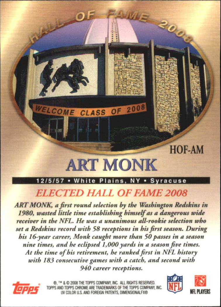 2008 Topps Chrome Hall of Fame #HOFAM Art Monk back image