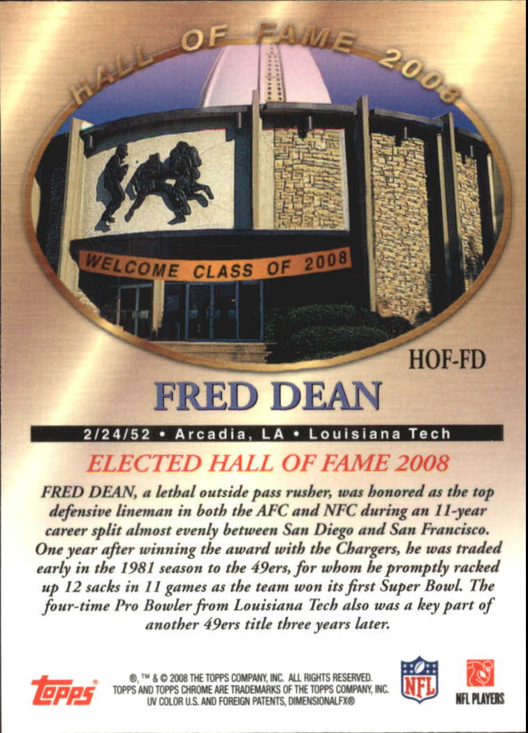 2008 Topps Chrome Hall of Fame #HOFFD Fred Dean back image