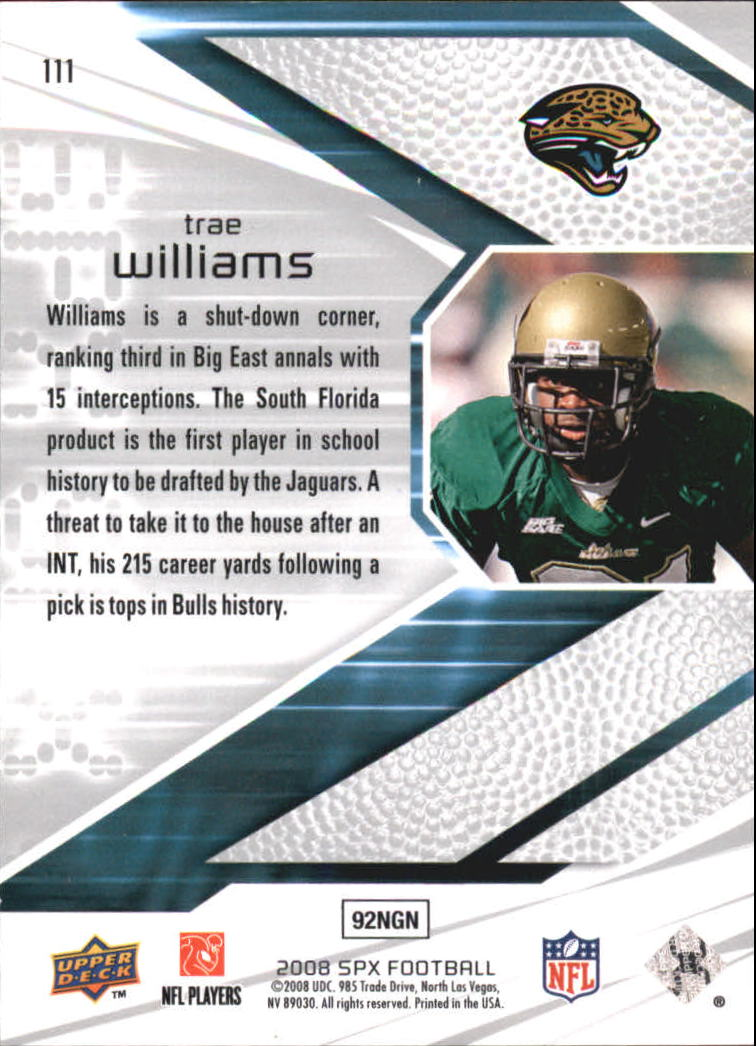 2008 SPx Green Holofoil Rookies #111 Trae Williams back image