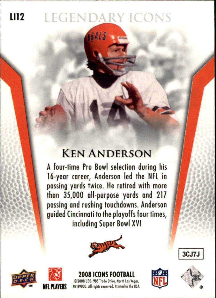 2008 Upper Deck Icons Legendary Icons Silver #LI12 Ken Anderson back image