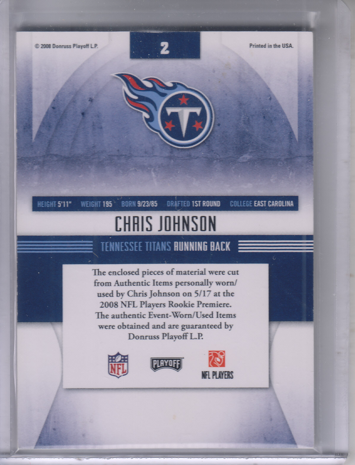2008 Absolute Memorabilia Rookie Jersey Collection #2 Chris Johnson back image