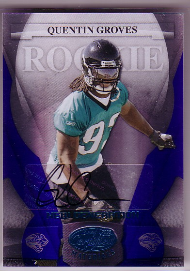 2008 Leaf Certified Materials Mirror Blue Signatures #189 Quentin Groves/50