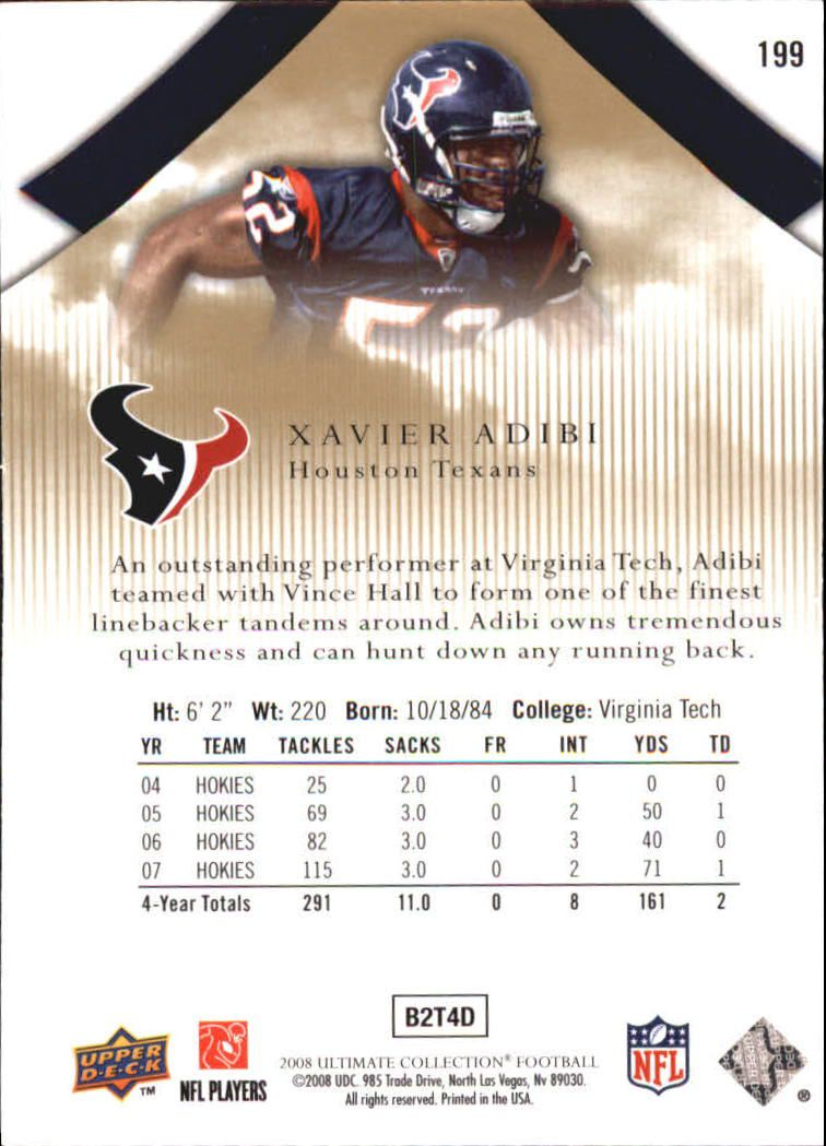 2008 Ultimate Collection #199 Xavier Adibi RC