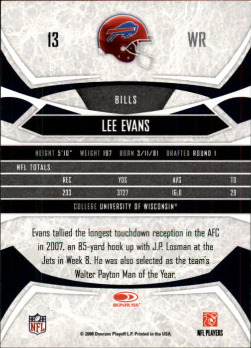 2008 Donruss Gridiron Gear #13 Lee Evans back image