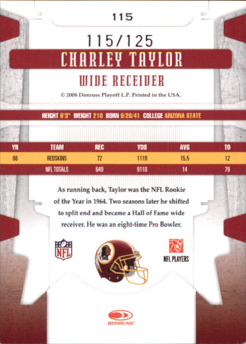 2008 Leaf Limited Bronze Spotlight #115 Charley Taylor back image