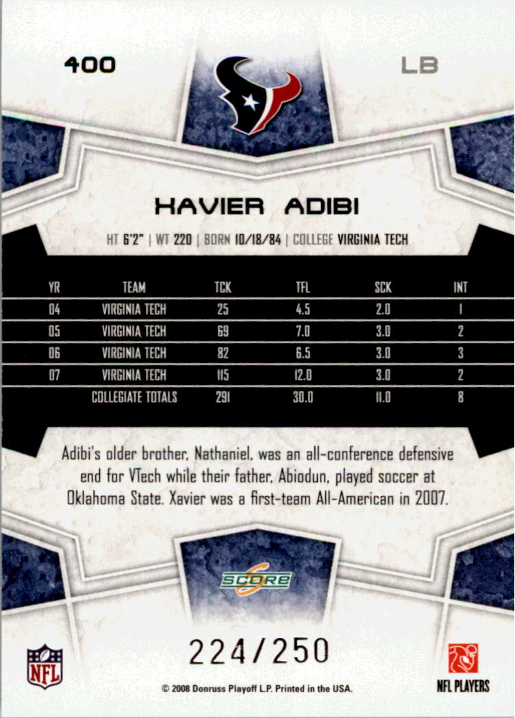 2008 Score Super Bowl XLIII Light Blue Glossy #400 Xavier Adibi