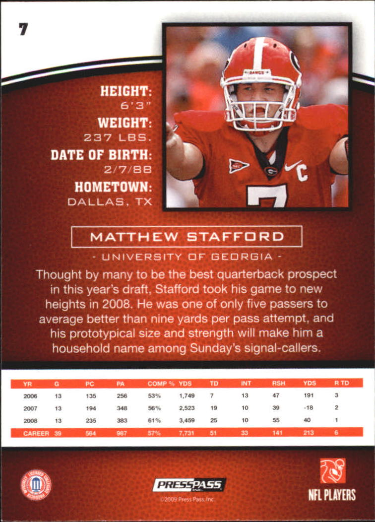 2009 Press Pass #7 Matthew Stafford back image