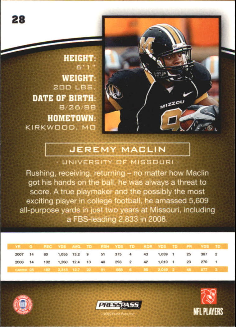 2009 Press Pass #28 Jeremy Maclin back image