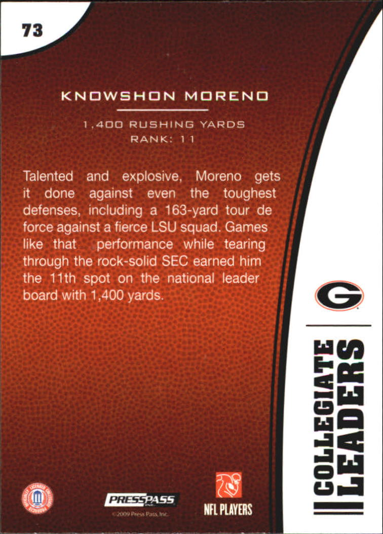 2009 Press Pass #73 Knowshon Moreno LL back image