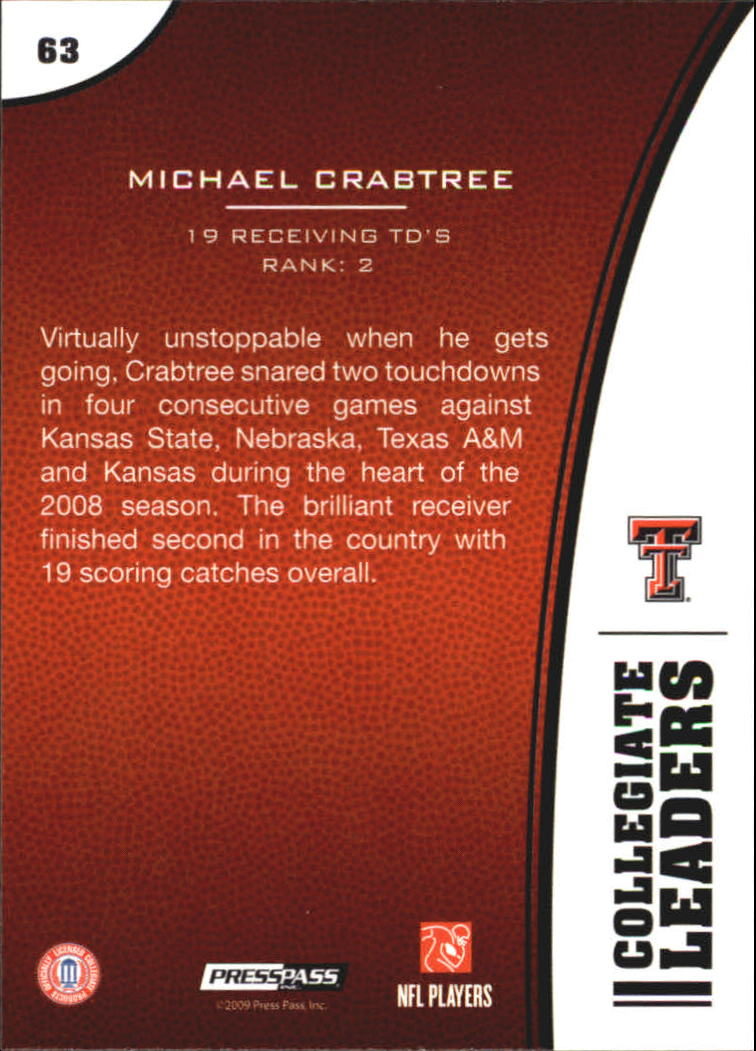 2009 Press Pass #63 Michael Crabtree LL back image