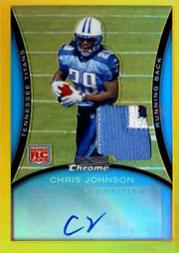 2008 Bowman Chrome Rookie Autographs Gold Refractors Jersey #BC76 Chris Johnson