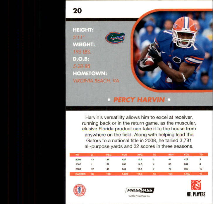 2009 Press Pass SE #20 Percy Harvin back image
