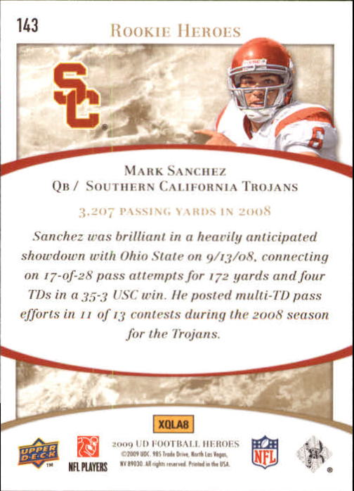 2009 Upper Deck Heroes #143 Mark Sanchez RC back image