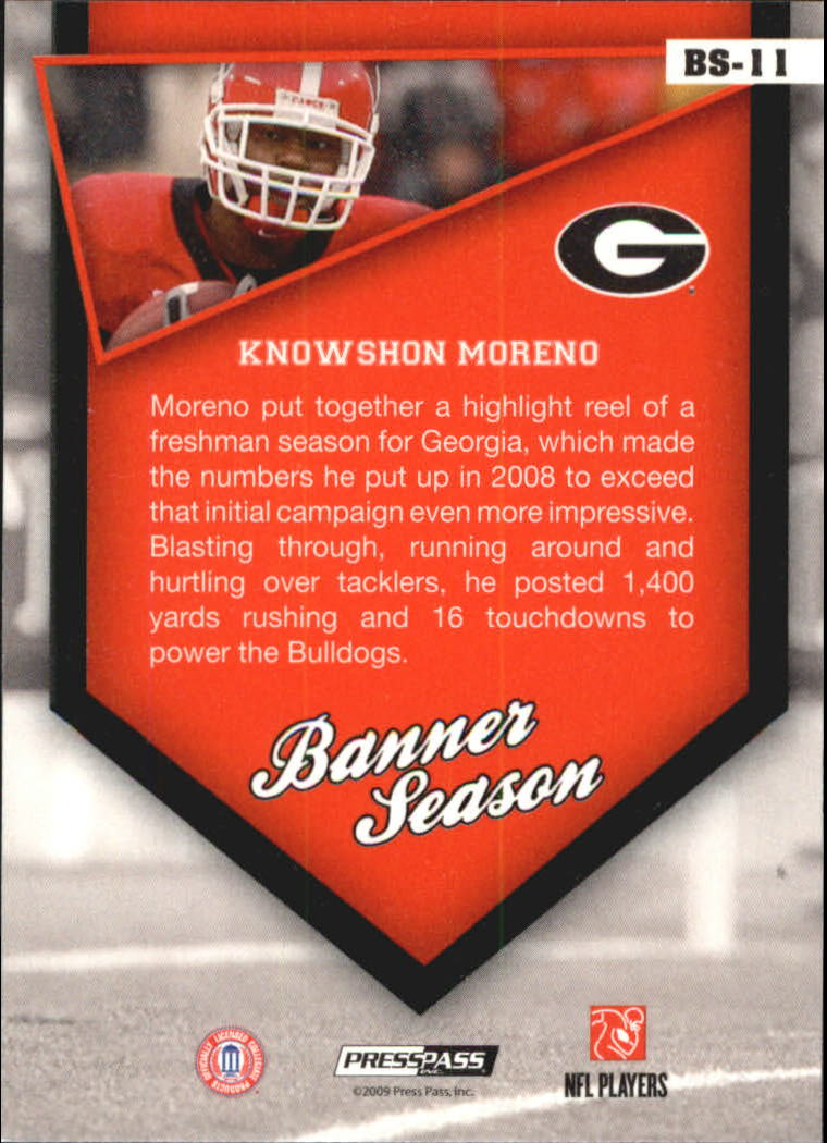 2009 Press Pass Banner Season #BS11 Knowshon Moreno back image