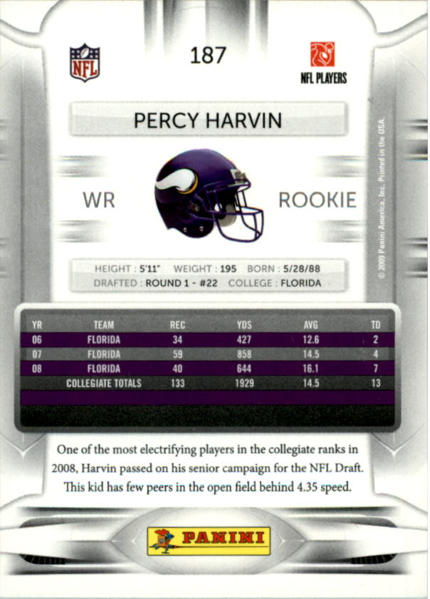 2009 Playoff Prestige #187A Percy Harvin RC back image