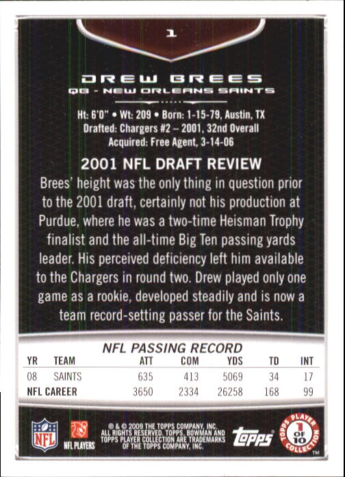 2009 Bowman Draft #1 Drew Brees back image
